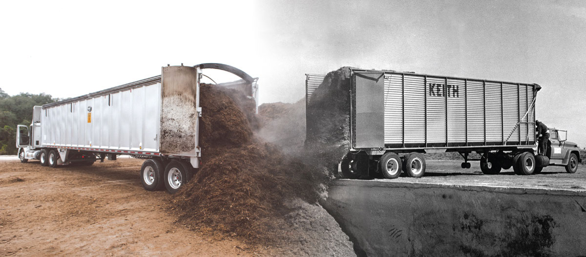 KEITH® Walking Floor agriculture mobile trailers unloading from the past and present
